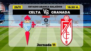 Celta - Granada | 29 de noviembre a las 18.30 horas
