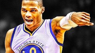 Montaje de Russell Westbrook con la camiseta de los Warriors