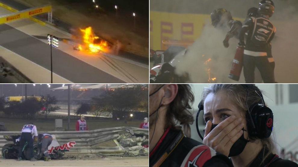 Las escalofriantes imágenes del aparatoso accidente de Grosjean