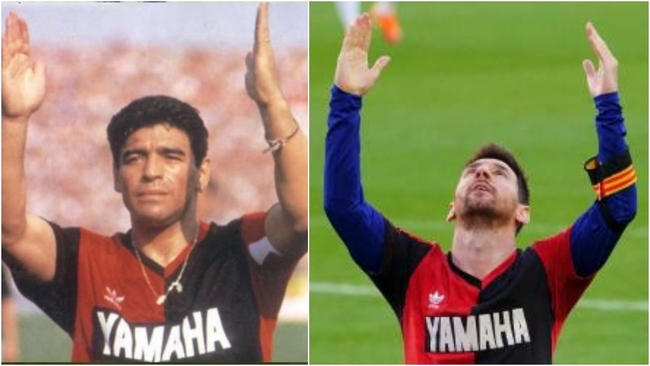 Maradona y Messi, con la camiseta de Newell's