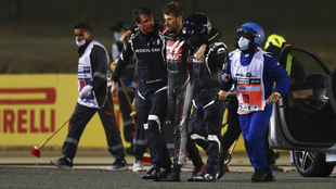 Grosjean, tras su espeluznante accidente.