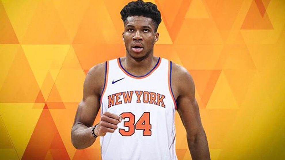 Montaje de Antetokounmpo con la camiseta de los Knicks