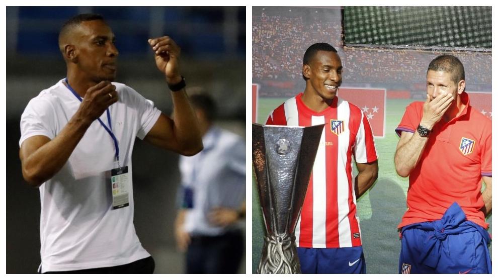 A la izquierda, Perea con Júnior. A la derecha, junto a Simeone.