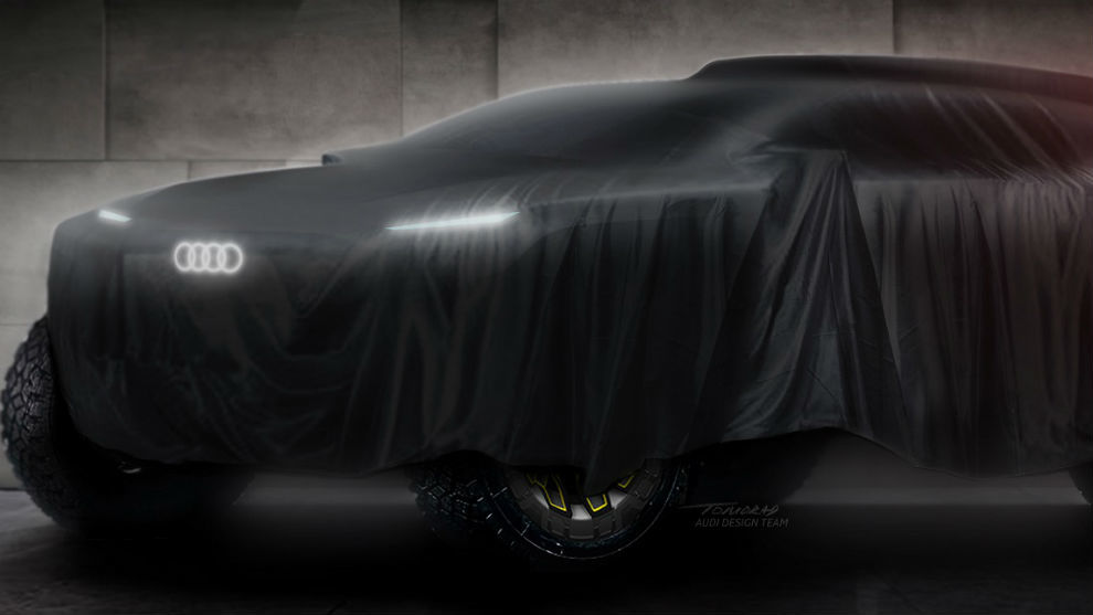 El vehículo de Audi para el Dakar, aún tapado.