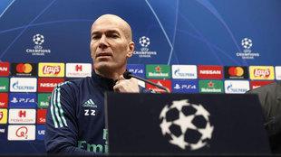Zinedine Zidane, durante una rueda de prensa de Champions