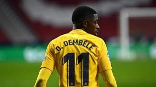 Ousmane Dembélé, en un partido del Barcelona