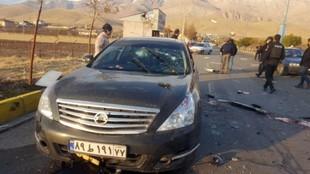 Vehículo en el que viajaba el asesinado Mohsen Fakhrizadeh
