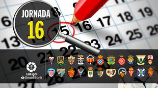 Partidos, horarios y donde ver en TV y online la jornada 16 de Segunda...