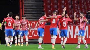 Jugadores del Granada celebran un gol.