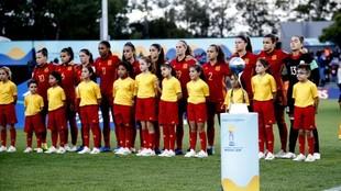 Formación de la selección española durante un partido del Mundial...