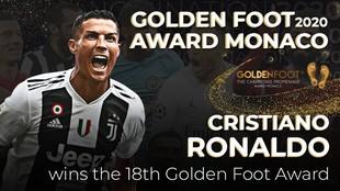 Cartelera anunciando a Cristiano Ronaldo como ganador del premio.