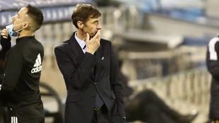José Ángel Ziganda, durante un partido de liga esta temporada.