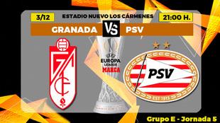 Granada - PSV: horario, canal y donde ver en TV hoy el partido de la...