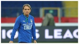 Mancin, en un entrenamiento de Italia.