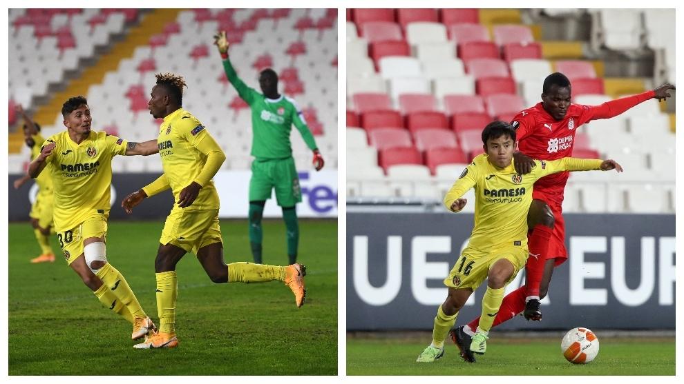 Chukwueze y Kubo en el partido ante el Sivasspor