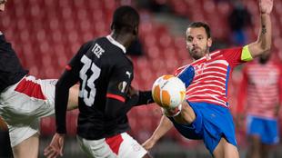 Soldado, durante un lance del partido contra el PSV.