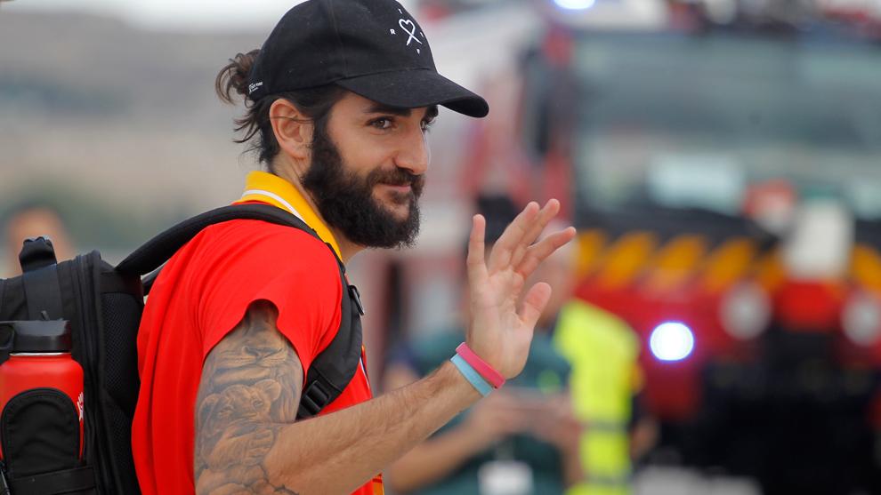 Ricky Rubio en un viaje con la selección española