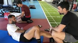 Jesé, en un entrenamiento este verano para preparar su vuelta al PSG.