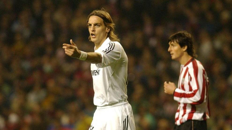 Woodgate, en un partido contra el Athletic con la camiseta del Real...