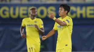 Kubo, en el partido ante el Sivasspor disputado en La Cerámica