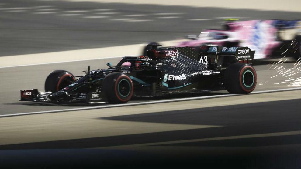 George Russell, durante los Libres 1 del GP de Bahréin.