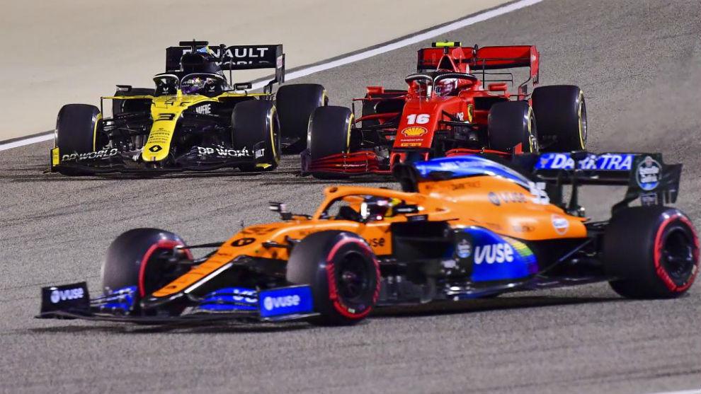 Ricciardo, Leclerc, Sainz.