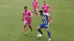 Ríos Reina, durante un lance del partido contra Las Palmas.