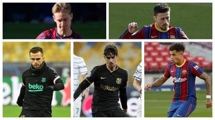 De Jong, Lenglet, Pjanic, Trincao y Coutinho.