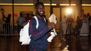 Umtiti, llegando a Arabia Saudí en enero de este año.