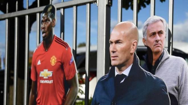 Paul Pogba, Zinedine Zidane and Jose Mourinho.