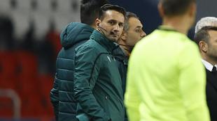 Sebastian Coltescu en el partido de ayer de Liga de Campeones entre...