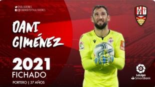 Cartel anunciador de la UD Logroñés del meta Dani Giménez
