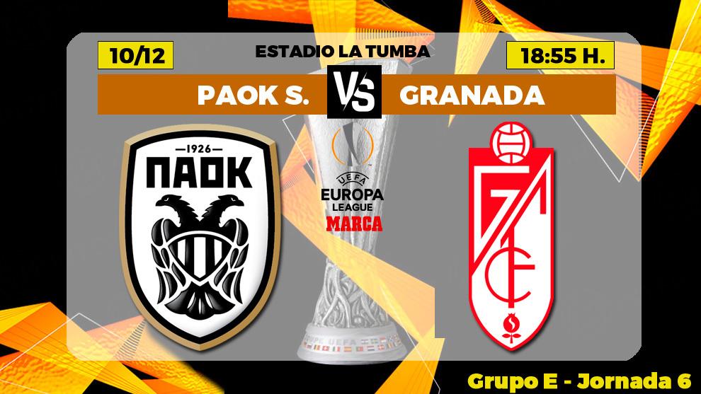 PAOK Salonika - Granada: horario, canal y donde ver por TV hoy el...