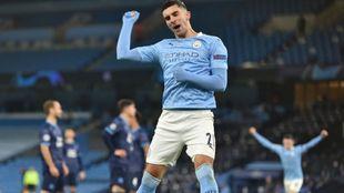 Ferran Torres celebra su gol con el City
