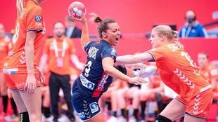 La noruega Nora Mork, en el partido contra Holanda /
