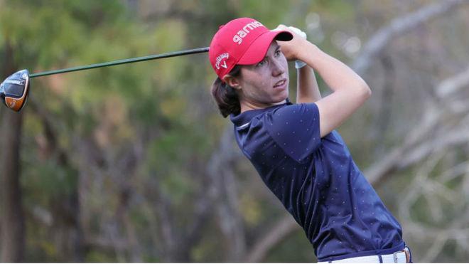 Carlota Ciganda durante el primer día en el US Women's Open.