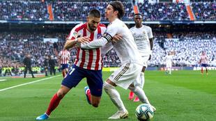 Carrasco y Ramos en el último derbi.
