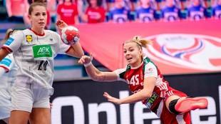 Un momento del partido entre Hungría y Alemania /