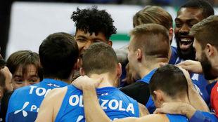El Acunsa celebra la victoria lograda ante el Andorra en la prórroga.