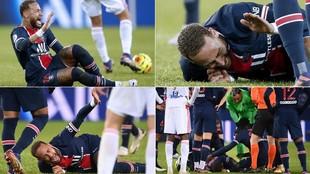 Neymar sufre dura entrada y abandona el césped en camilla.