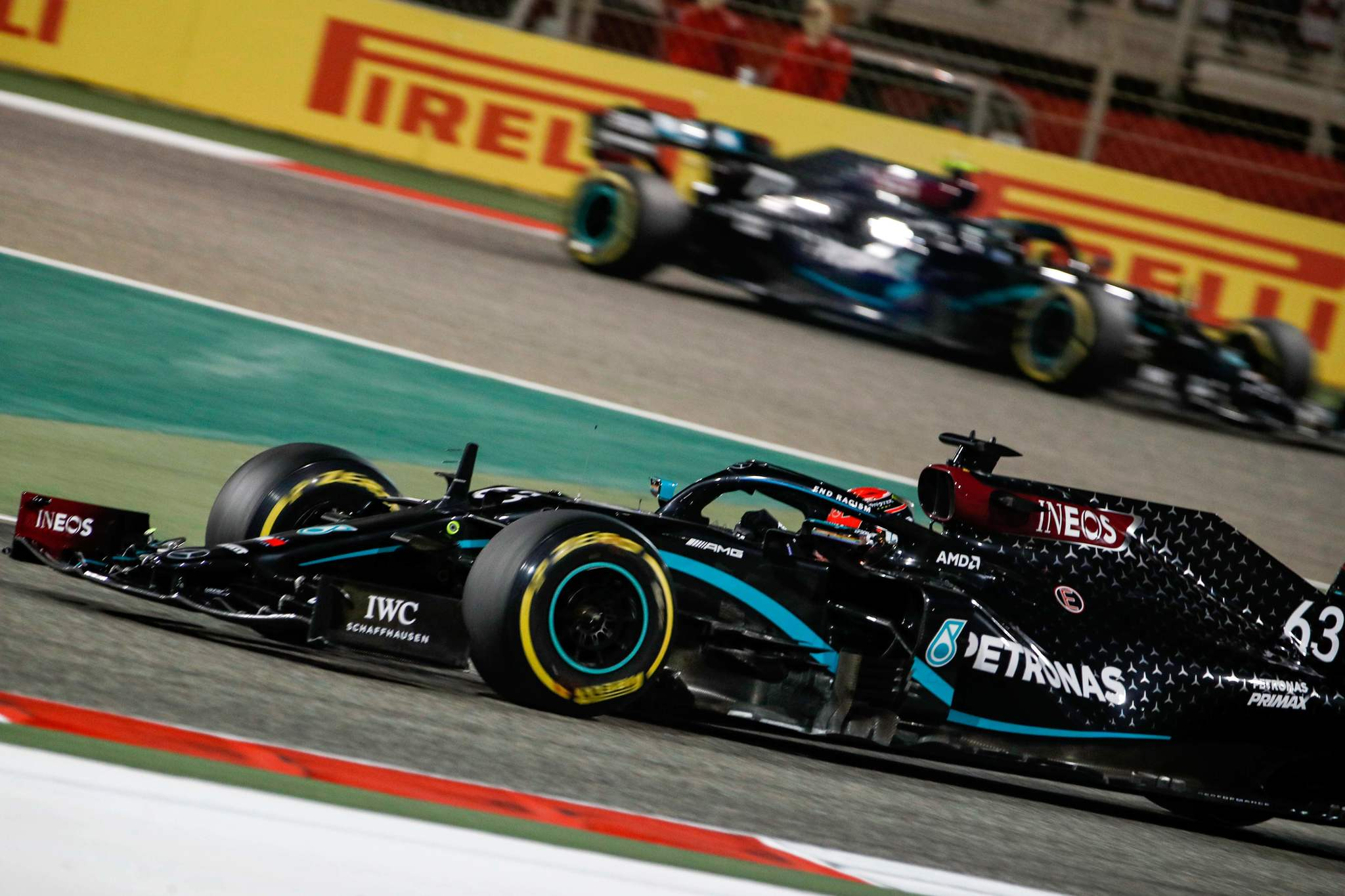 Mercedes British driver lt;HIT gt;George lt;/HIT gt; lt;HIT gt;Russell lt;/HIT gt; drives during the Sakhir Formula One Grand Prix at the Bahrain International Circuit in the city of Sakhir on December 6, 2020. (Photo by HAMAD I MOHAMMED / POOL / AFP)