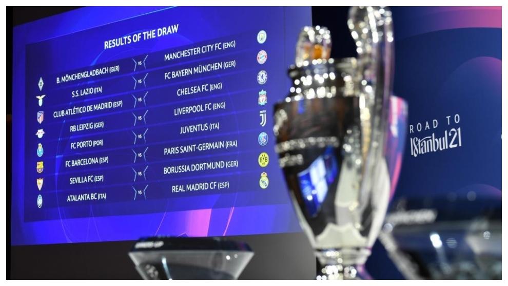 Imagen del sorteo de octavos de final de la Champions League.