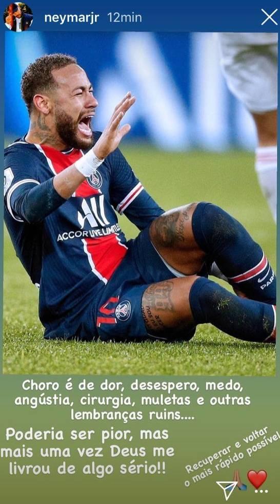 """Neymar: """"Mi llanto es de dolor, angustia, cirugía y muletas"""""""