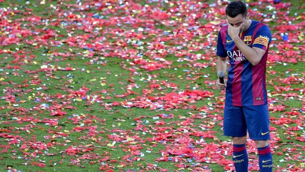Xavi, en su despedida con el Barça.
