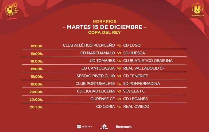 Horarios y emparejamientos de la primera eliminatoria de la Copa del Rey para el martes 15 de diciembre
