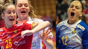 Nerea Pena y Silvia Navarro durante un partido con las...