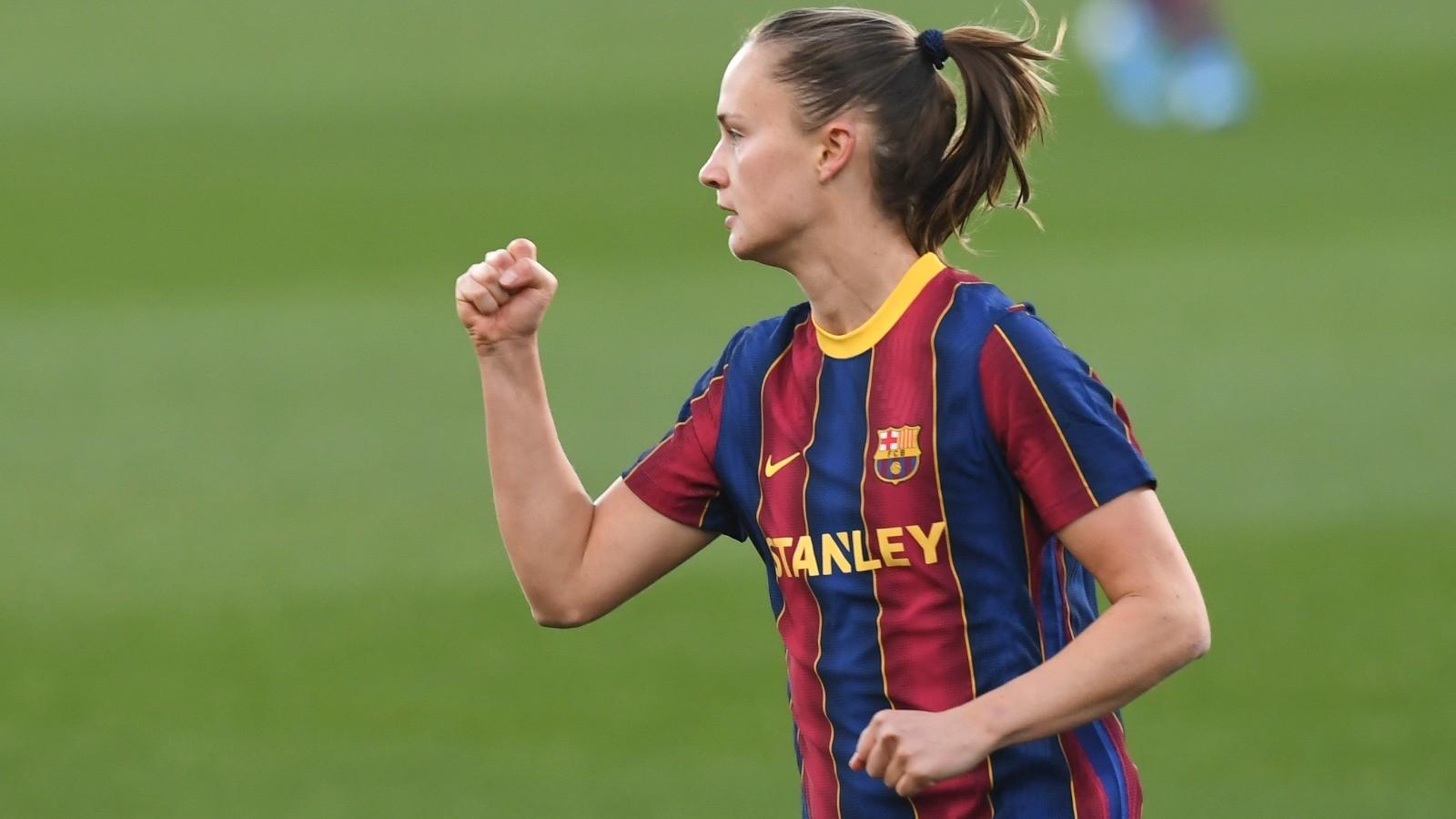 Carolina Graham Hansen celebra el primer gol ante el PSV en el Johan...