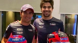 Checo Pérez intercambió su casco con Lance Stroll.