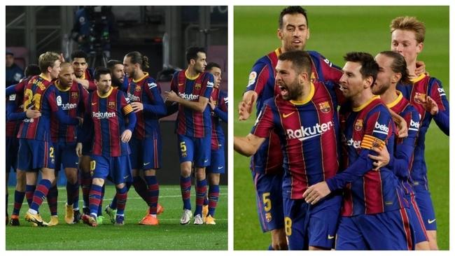 Messi y varios jugadores celebran los goles contra la Real Sociedad