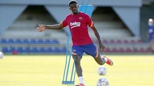 Dembélé, en un entrenamiento con el Barcelona.